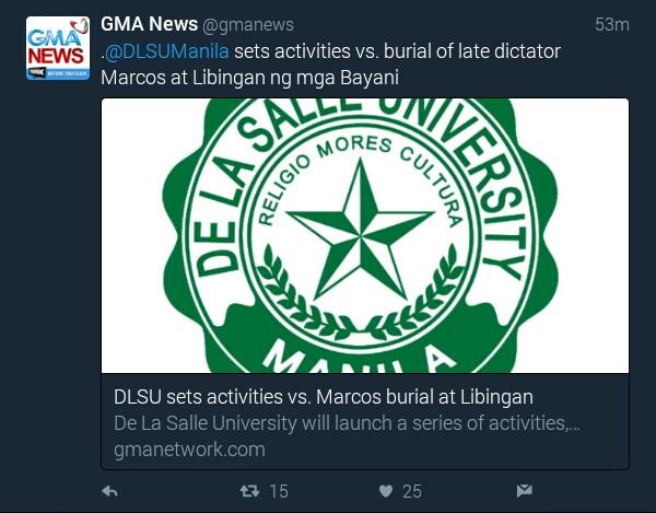 La Salle University sets activities vs Marcos burial