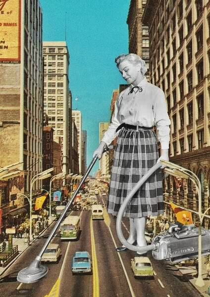 collage-woman-hoovering-urban-street
